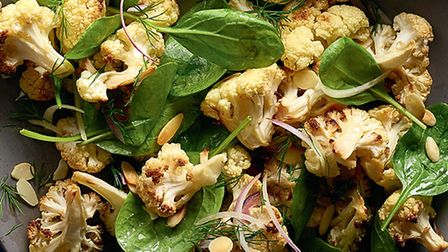 Roasted cauliflower, dill and spinach salad