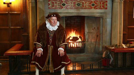 Volunteer Guide Geoff Goodspeed plays the role of a Tudor Lord in the Smoking Room