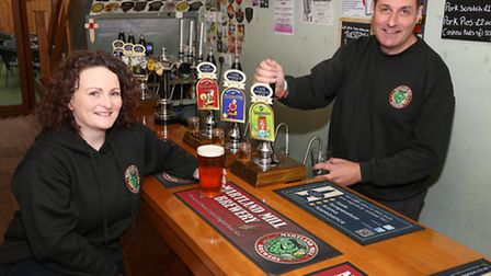 Delia Wood (Manager of the Tap n' Barrel, Martland Mill Brewery Tap) and Paul Wood (Owner of Martla