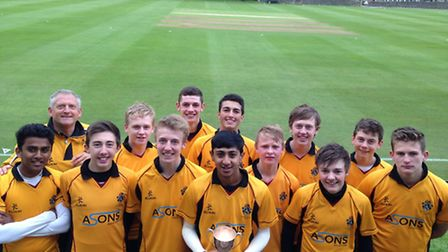 Bolton School cricket trophy winner. Haseeb Hameed holds the cup