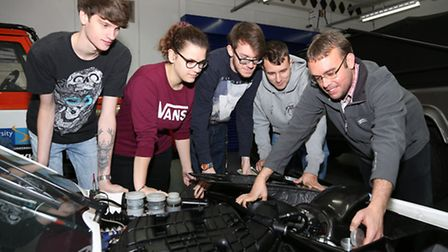 First year BSc Motorsport Technology Students in the Centre for Advanced Performance Engineering at