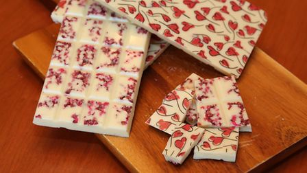 Valentine's heart bar made with raspberry and white chocolate