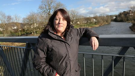 Sue Cashmore of the Cockermouth Flood Action Group by the River Derwent