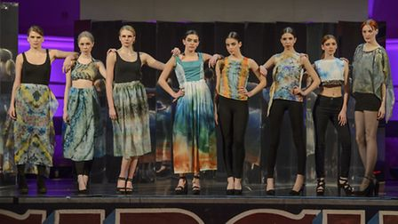 Becki Ball with her collection at The Designers Show at Norwich Fashion Week 2016 (photo: Paul Bayfi