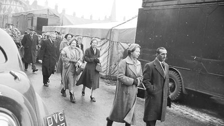 The Queen Mother and Queen visiting the Mart in February 1955