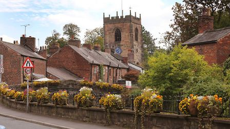 St Michael & All Angels Church and Town Road in Croston.
