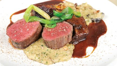 Seared Belted Galloway beef fillet, hone and ale-braised short rib, wild mushroom risotto