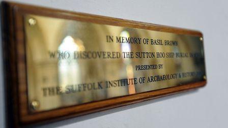 The Basil Brown memorial plaque on show at Rickinghall Inferior Church (St Mary's).