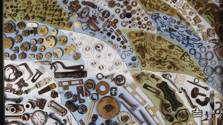A display of metal bits and pieces turned into art