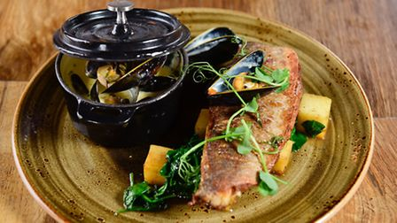 Bass and Mussel Hot Pot main course special