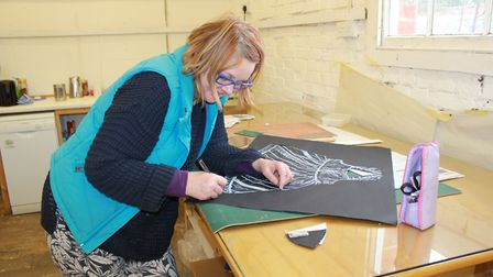 Helen Armstrong-Bland working on an object based print block