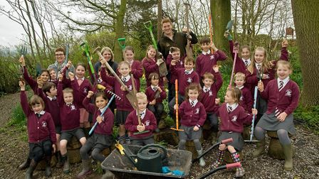 The green fingered pupils with John Foley and teachers Sandra Wilson and Sarah Shaw