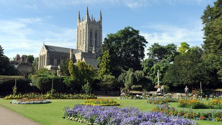 St Edmundsbury Cathedral viewed from the Abbey Gardens in Bury St Edmunds.