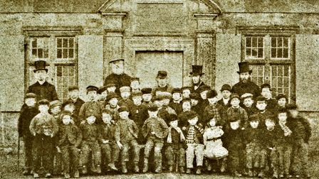 Pupils at brennands Endowed School in about 1860
