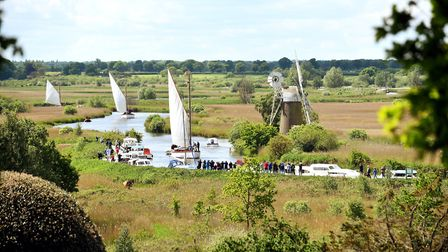 Wherries sailing along the River Ant at How Hill (photo: James Bass)