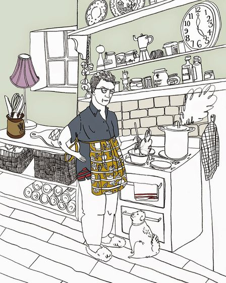 Steve and Velma holding the fort, an illustration by Holly Bishop for her mum's book, Chemo Summer
