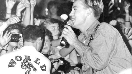 Jason Donovan, mobbed by fans during an appearance at Ritzy's, Norwich, in 1989