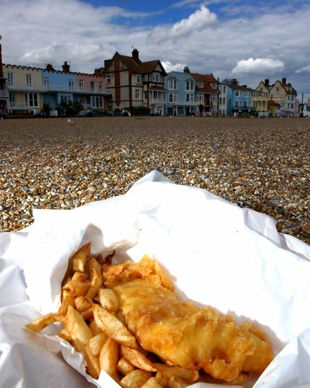 EADT news...Kate Scotter; Aldeburgh fish and chips on the beach.; Picture Owen Hines; EADT 27.5.08