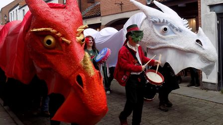 The 50 ft dragons ready for the procession through the high street in celebration of Samhain (c) Van