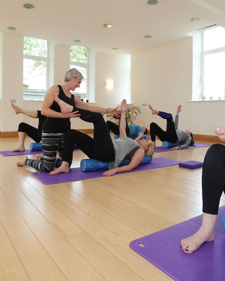 Pilates instructor, Charlotte Hopkinson during a class