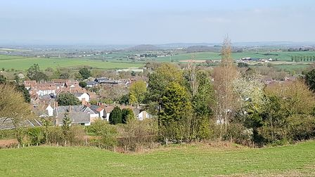 A birds eye view of Nether Stowey from the Mount, the remains of a Motte and Bailey castle (c) Gus C