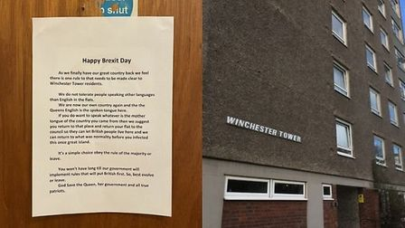 The racist poster that was posted on a fire door at Winchester Tower in Norwich. Photograph: Twitter