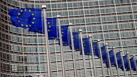 European Union flags in front of the Berlaymont Building in Brussels, Belgium. Picture: Getty Images