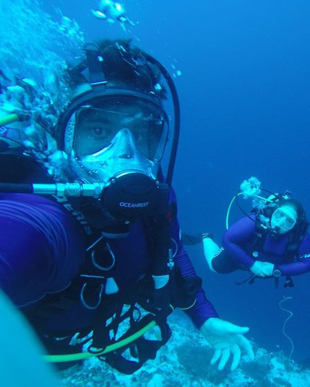Darren Gook diving during his Maldives reef project (photo: TMS Media)