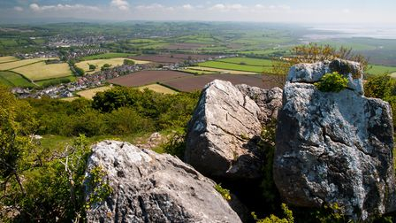 The view towards Carnforth and Morecambe Bay from the top of Warton Crag in Cumbria. DP Landscapes