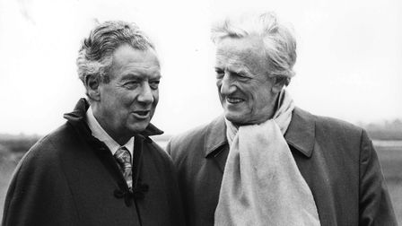 Benjamin Britten and Peter Pears pictured near Snape Maltings in May 1975. Photo: Victor Parker. Cop