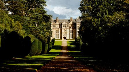 View down the drive to the west front at Montacute House