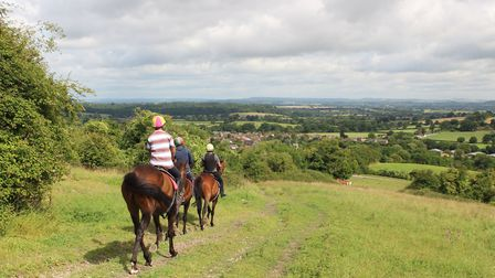 Riders enjoy the views from Okeford Hill