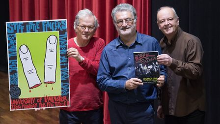 John Angus, artist, printmaker and poster designer, Barry Lucas, former promoter and co-author and