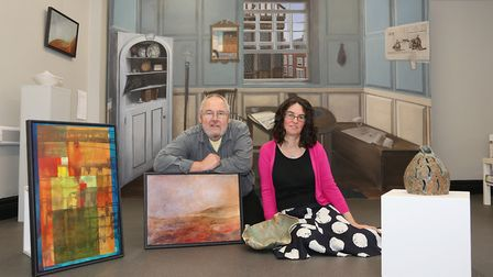 Painter, Roy Smith and ceramicist Kathleen McDonald of King Street Studios (Large piece behind them is by artist, Ellie...