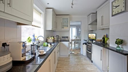 KITCHEN Units painted in Farrow and Ball Cornforth White. Coffee machine and kitchen accessories fro