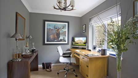STUDY Console from Classix, Northampton, Chair from John Lewis. Tall glass vase by Kenneth Turner