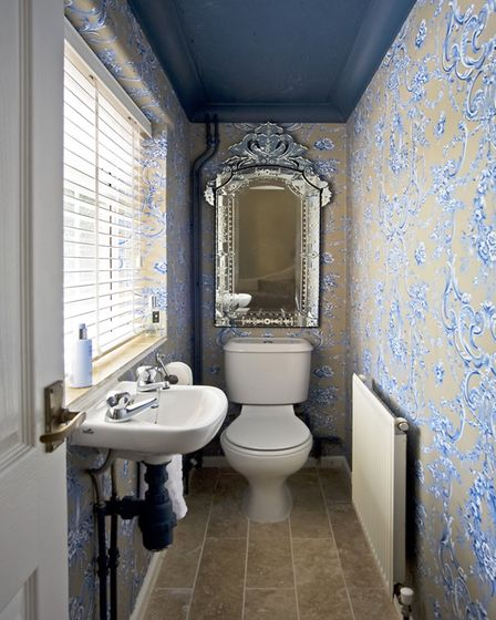 CLOAKROOM Wallpaper by Colefax and Fowler from Baker Rhodes. Mirror from Classix, Northampton. Floor