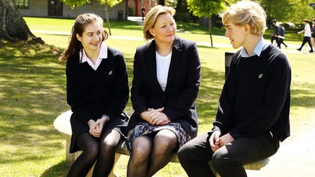 Jo Thomson talking to some of her pupils at Clayesmore School (James McMillan Photographer)