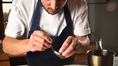 Warwick Street Social dish. Alex Clare putting the finishing touches to a Christmas Pudding Parfait