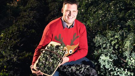 James Debbage from Green Pastures Plant Centre and Farm Shop with his festive vegatble 'Kalettes' a