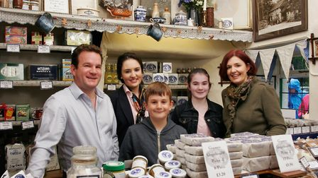 Andrew and Joanne Hunter and family at their Grasmere gingerbread shop