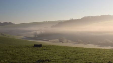 Looking atmospheric in the early morning mist - the Durnovaria aqueduct stream running through the v