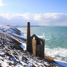 """""""The cliffs at Chapel Porth, dusted with snow"""" Photographer Andrew Trenoweth, Cornwall."""