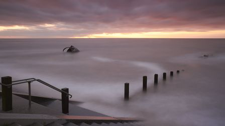 Cleveleys Long Exposure. After the sun had set, and the tide was high, I took this image looking acr