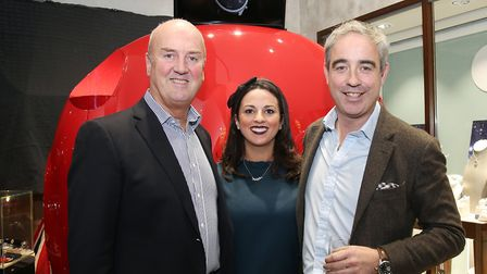 Rodney Banks Lyon, Maxine Banks Lyon, co-founder of Bremont Giles English in front of the bonnet of