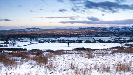 Parts of Whitwells farm and Clitheroe in winter
