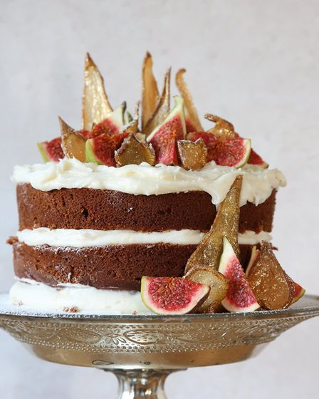 Spiced Golden Candied Pear Cake by the Boho Baker