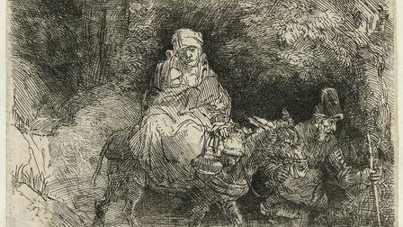 The Flight into Egypt: Crossing a Brook 1654. Etching, engraving and drypoint on paper. 9.4 x 14.4 c