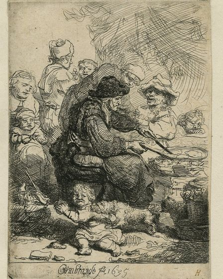 The Pancake Woman (II/VII) 1635. Etching on paper. 10.9 x 7.9 cm (Norfolk Museums Service - Norwich