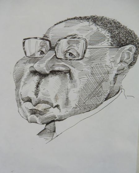 Roger Law's drawing of Robert Mugabe at his exhibition 'From Satire To Ceramics' at the Sainsbury Ce